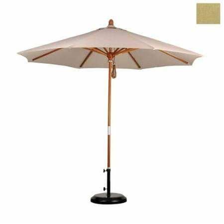 California Umbrella MARE908-5476 9 ft. Wood Market Umbrella Pulley Open Marenti Wood-Sunbrella-Heather Beige - image 1 of 1