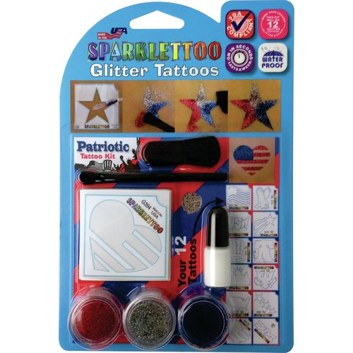 RUBY RED PAINT, INC. 16 Piece Patriotic Glitter Tattoo Set