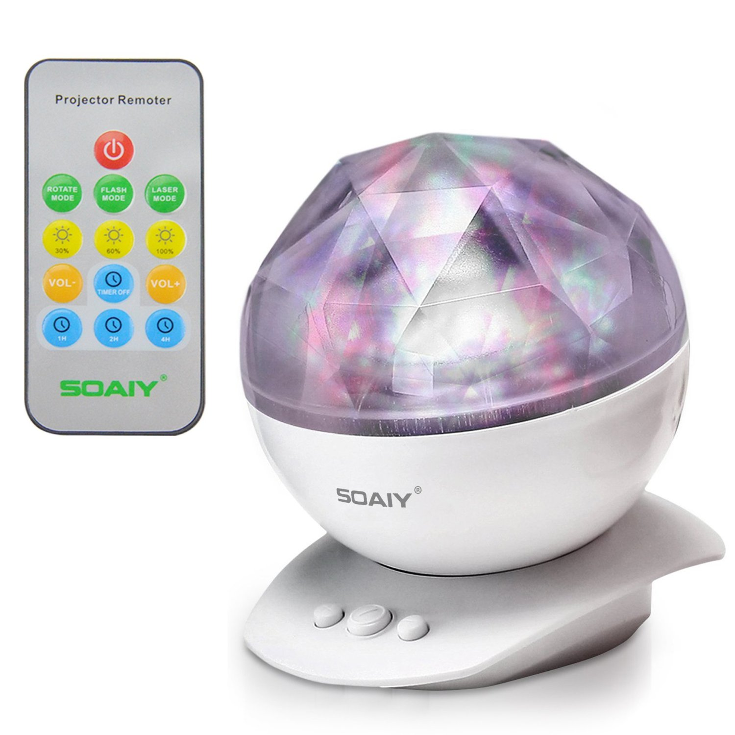 SOAIY Aurora Borealis Night Light with Timer Dimmer Speaker,8 Light Relaxing Color Changing LED Star Projector Decorative Remote Control Light Sleeping Lamp