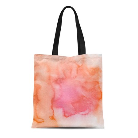 ASHLEIGH Canvas Tote Bag Pink Coral Abstract Watercolor Hand Red Watercolour Ink Color Durable Reusable Shopping Shoulder Grocery Bag - Coral Tote Bag
