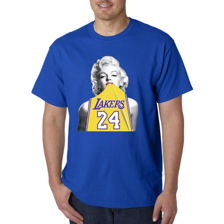 Trendy USA 412 - Unisex T-Shirt Marilyn Monroe Lakers 24 Kobe Bryant Jersey 2XL Royal Blue 1 Orange Replica Basketball Jersey