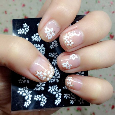 Anself 30 Sheet 3D Floral Design Nail Art Stickers Decals Manicure Beautiful
