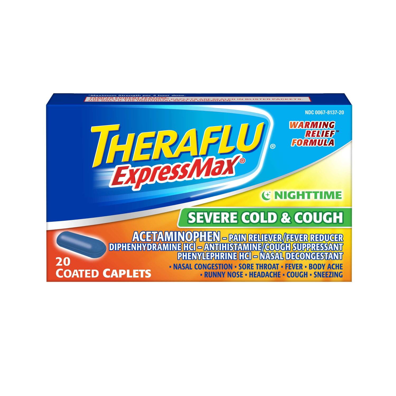 Theraflu ExpressMax Severe Cold & Cough Nighttime Warming Relief Formula Coated Caplets...