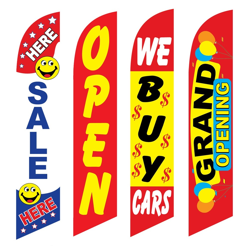 4 Advertising Swooper Flags Sale Here Open We Buy Cars Grand Opening