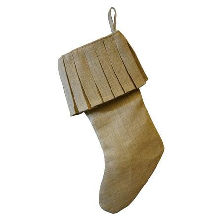 Holiday Decor Ruffle Burlap Jute Christmas Stocking, 19