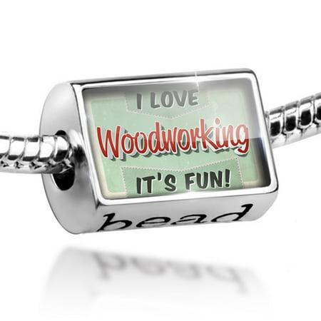 Bead I Love Woodworking, Vintage design Charm Fits All European Bracelets