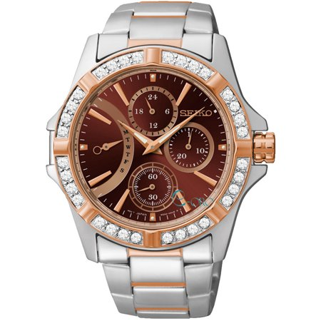 Lord Two-Toned Stainless Steel Fixed Swarovski Crystal Bezel Ladies - Fixed Tachymeter Bezel