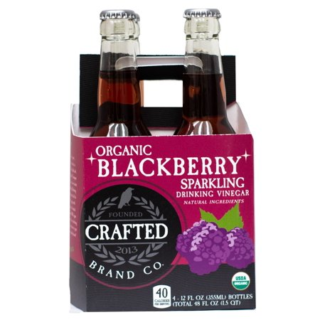 (4 Bottles) Crafted Brand Company Blackberry Drinking Vinegar, 12 Fl