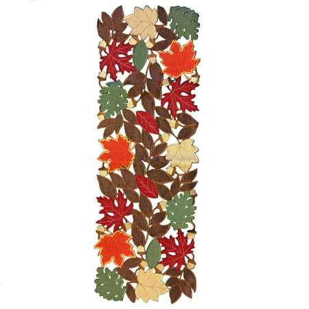 Autumn Leaves Table Runner (Autumn Leaf Embroidered Fall Table Runner 16 x 45 Inch Leaves)
