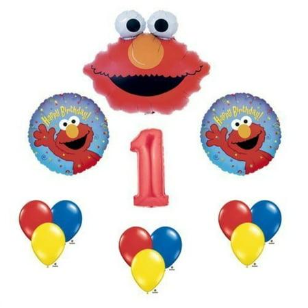 Elmo Sesame Street #1 1st First Birthday Party Supply Balloon Mylar Latex Set