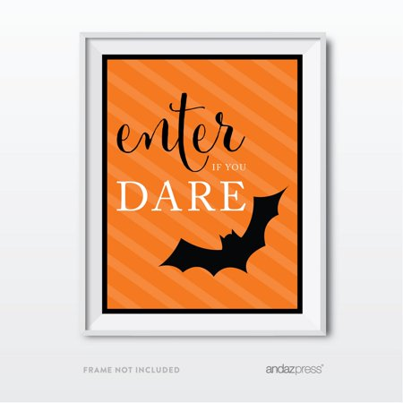 Enter If You Dare Black & Orange Classic Halloween Party Signs