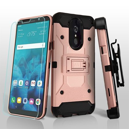 LG Stylo 4 Phone Case Combo TUFF Hybrid Impact Armor Rugged TPU Dual Layer Hard Protective Cover Belt Clip Holster with Screen Protector Rose Gold Phone Case for LG Stylo 4