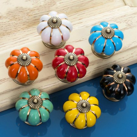 Sytian® 7pcs Multicolor Candy Color Baby Kid's Children's Furniture Drawer Handles Decorative Pumpkin Ceramic Door Cabinet Drawer Knobs Pull Handles Creative Cupboard Handle Pull Knobs with Screw ()