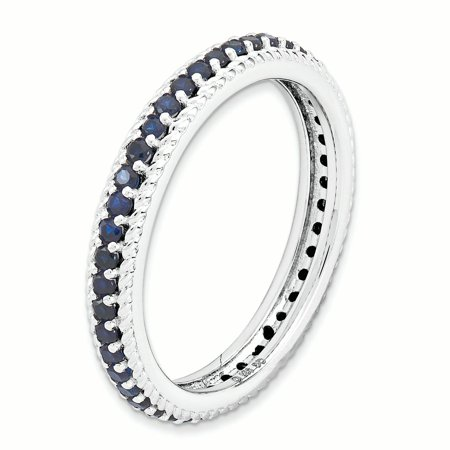 Sterling Silver Stackable Expressions Polished Cr. Sapphire Eternity Ring Size 5 - image 3 de 3