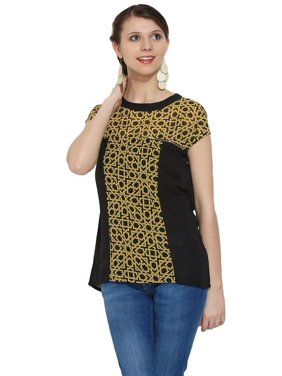bccc53c598a Product Image MOHR Womens Zip Detail Print-Solid Combo Top