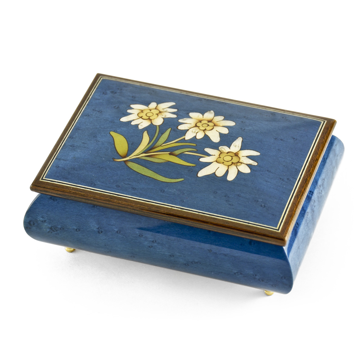 Hand-made 18 Note Royal Blue Edelweiss Inlay Musical Jewelry Box - Ave Maria, Gounod