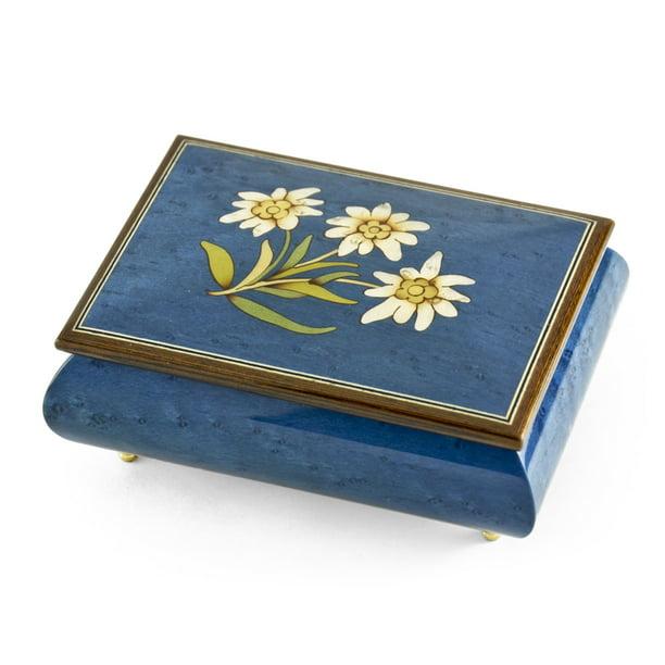 Musicboxattic Hand Made 18 Note Royal Blue Edelweiss Inlay Musical Jewelry Box How Dry I Am Swiss Walmart Com Walmart Com