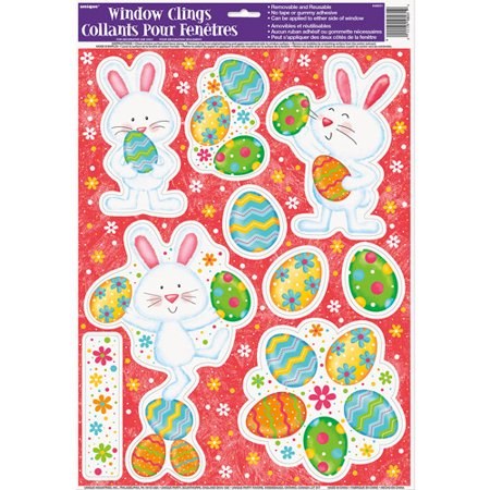 (5 pack) Happy Easter Bunny Window Decals - Snowflake Window Clings