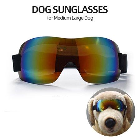 Dog Sunglasses Dog Goggles Pet Glasses UV Protection Sunglasses Adjustable Strap for Medium Large (Doc Glasses)
