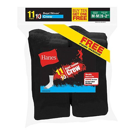 EZ-Sort Boys' Crew Socks 11-Pack (Includes 1 Free Bonus Pair)