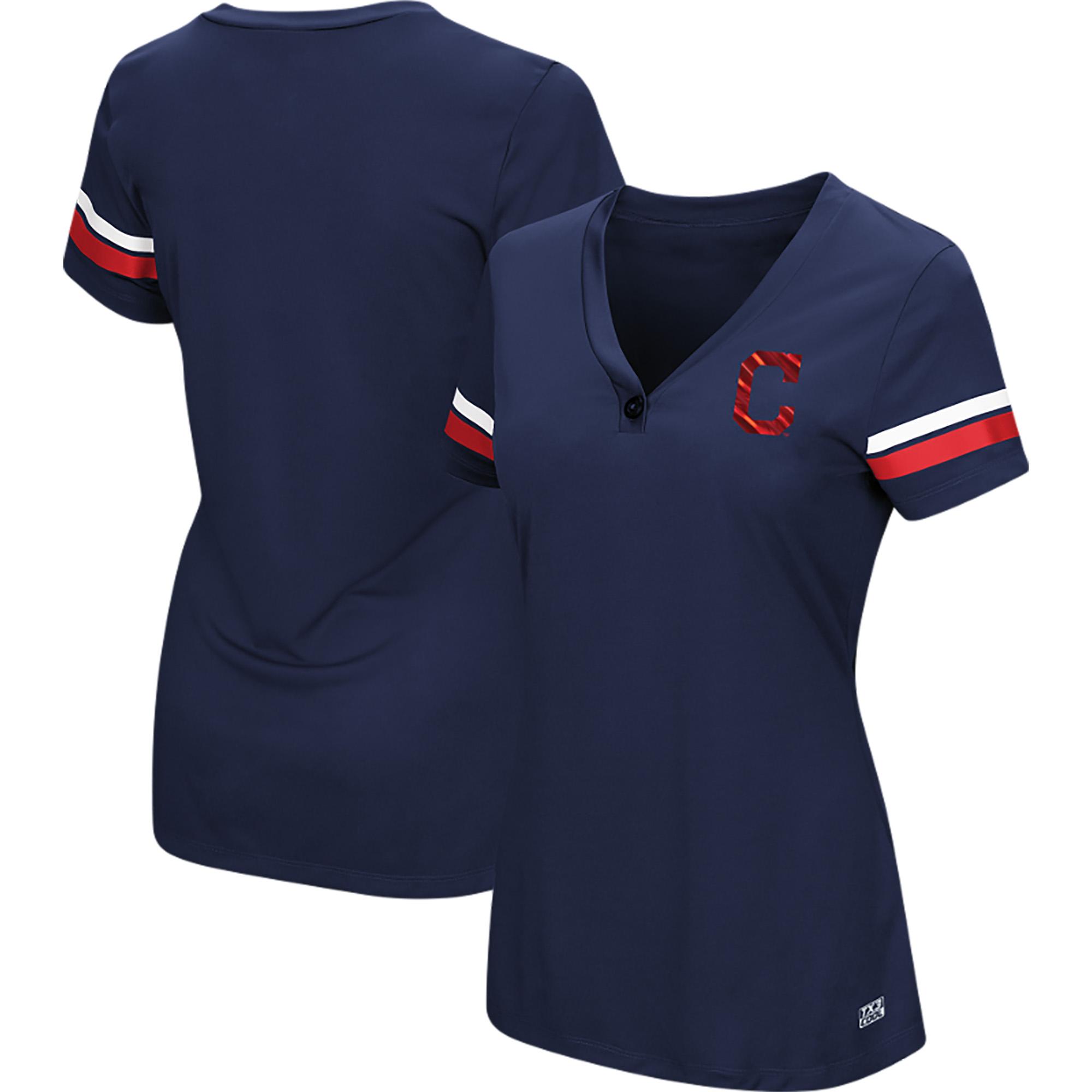 Women's Majestic Navy Cleveland Indians Plus Size Sparkling Fun Button V-Neck T-Shirt