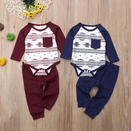 3dc398991 Newborn Baby Boy Girl Christmas Clothes Romper Bodysuit Tops Pants ...