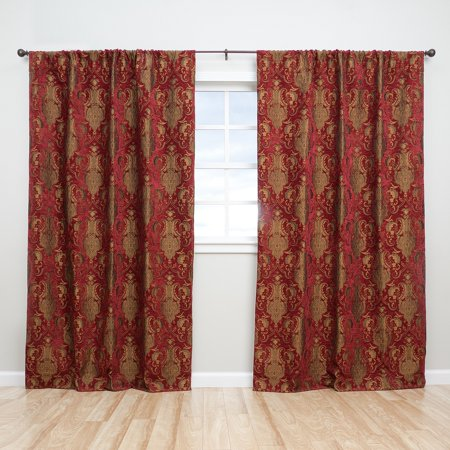 (Sherry Kline  Luxury China Art Red 84-inch Curtain Panel Pair - 56 x 84)