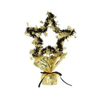 Club Pack of 12 Gold and Black Star Gleam 'N Shape New Year's Decorative Centerpieces 11.5''