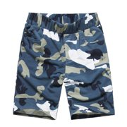 Men's Elastic Waist Camouflage Pattern Slant Front Pockets Casual Shorts (Size M / W32)