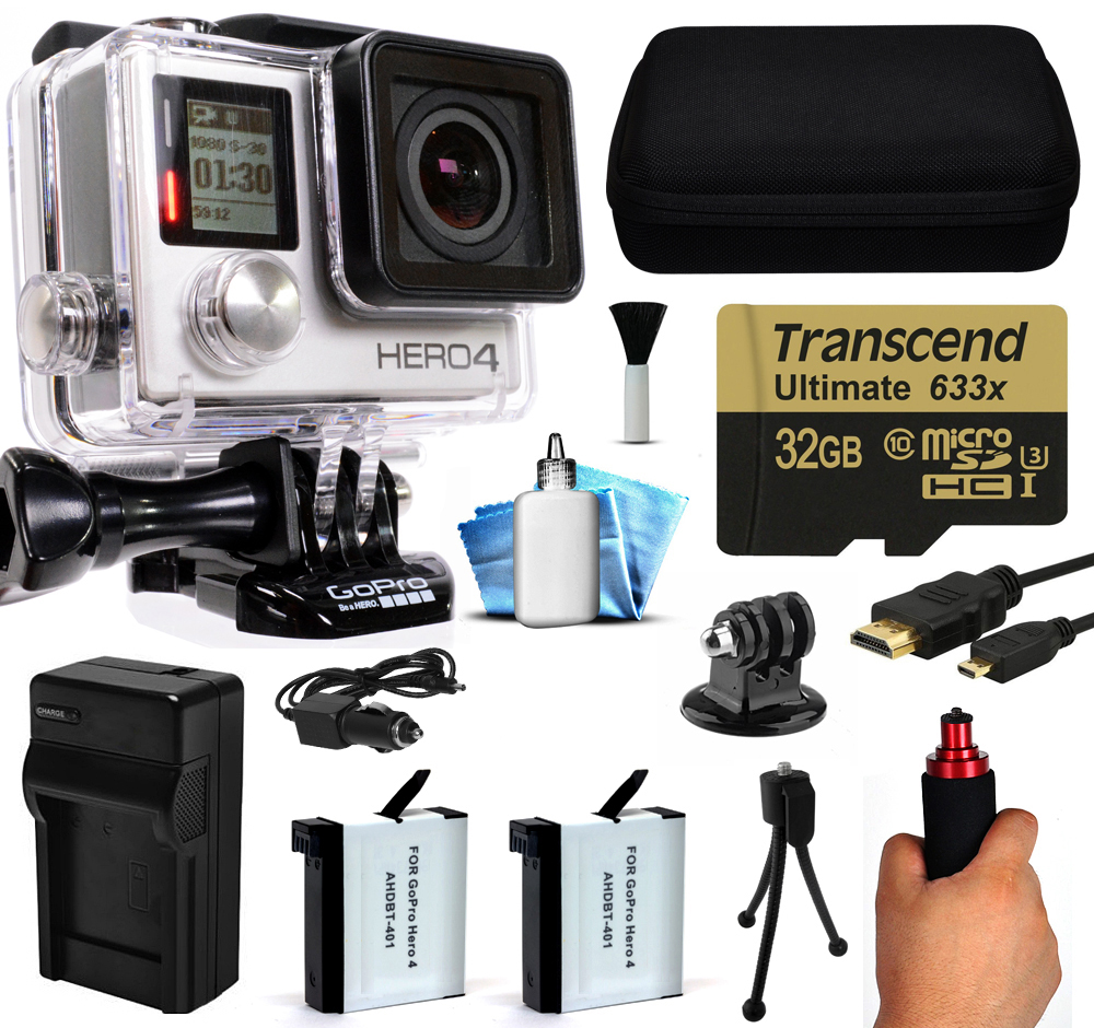 GoPro Hero 4 HERO4 Black Edition 4K Action Camera Camcorder with 32GB Starter Accessory Kit with MicroSD Card, Hand Grip, 2x Batteries, Home and Car Charger, Medium Case, HDMI, Cleaning Kit