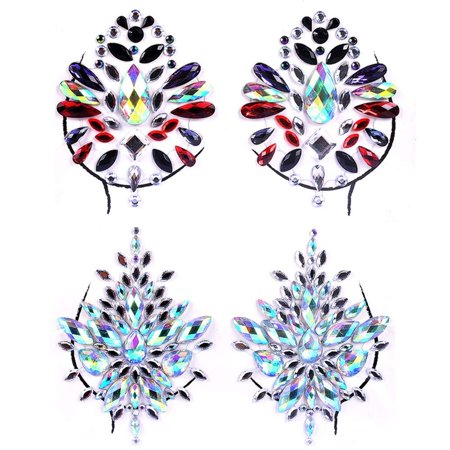 Lady Up 2 PCS Breast Jewels Tattoo Set Mermaid Rhinestones Face Body Stickers Crystals Gem Stone Glitter for Rave Party Music Festival