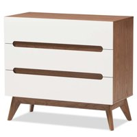 Hawthorne Collection 3 Drawer Chest in White and Walnut
