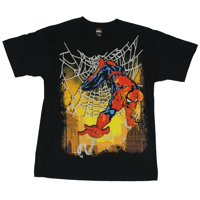 Spider-Man (Marvel Comics) Mens T-Shirt  - Sunset Silver Web Colorful Spidey