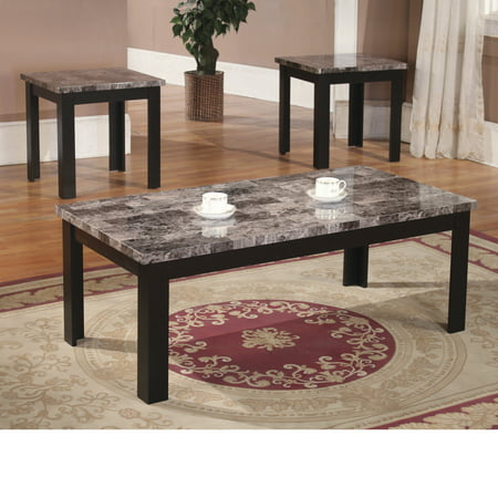 Home Source Black Marble Coffee Table Set