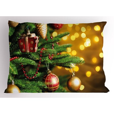 Christmas Pillow Sham Close Up Decorated Christmas Tree Branches on Blurred Fairy Backdrop Picture, Decorative Standard Size Printed Pillowcase, 26 X 20 Inches, Gold Green Red, by Ambesonne