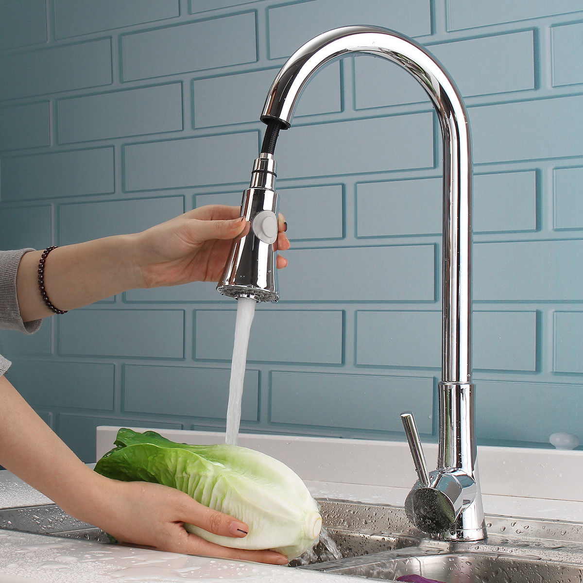 Ktaxon Commercial Stainless Steel Single Handle Pull Down Sprayer Kitchen  Faucet, Pull Out Kitchen Faucets