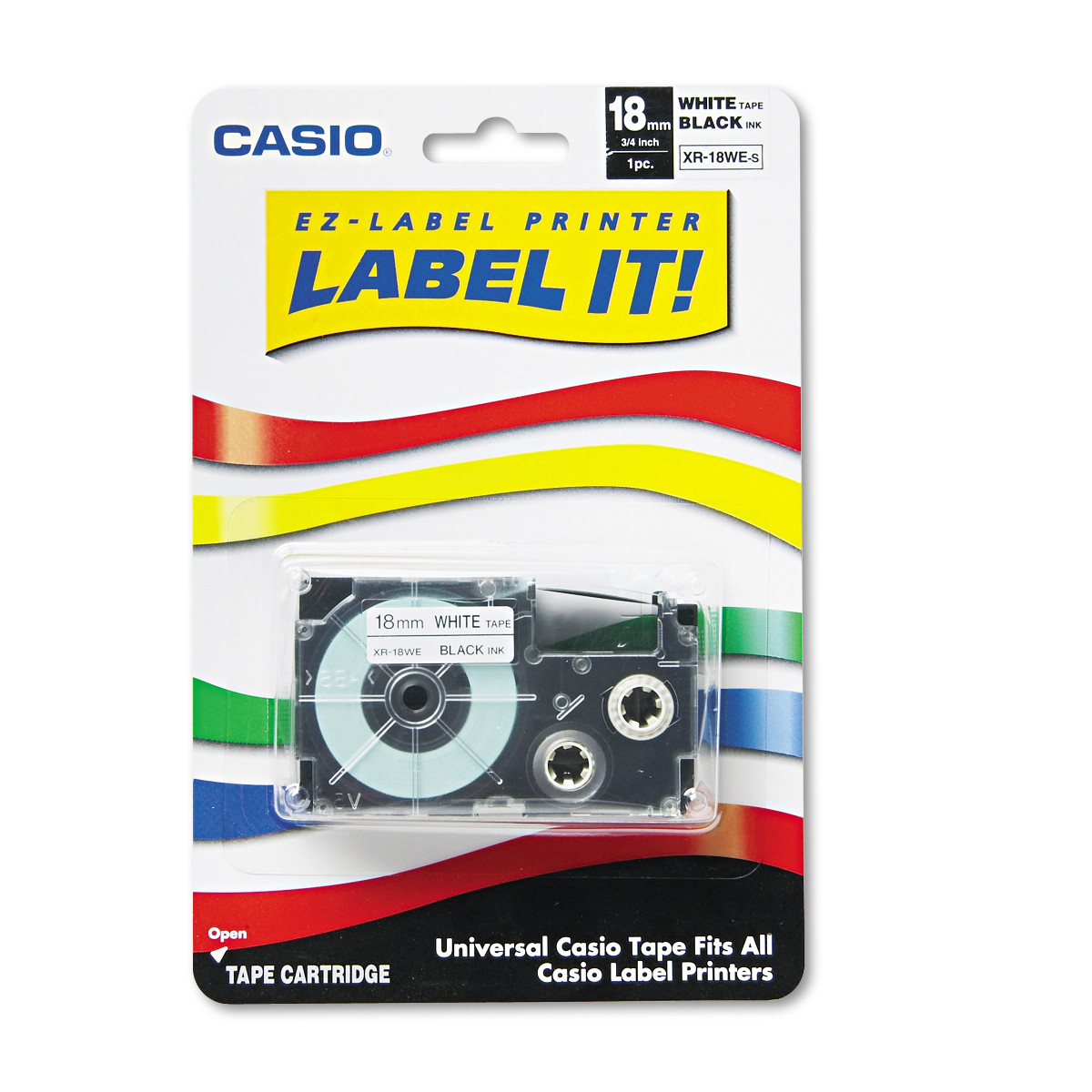 Casio Tape Cassette for KL Label Makers, 3/4in x 26ft, Black on White