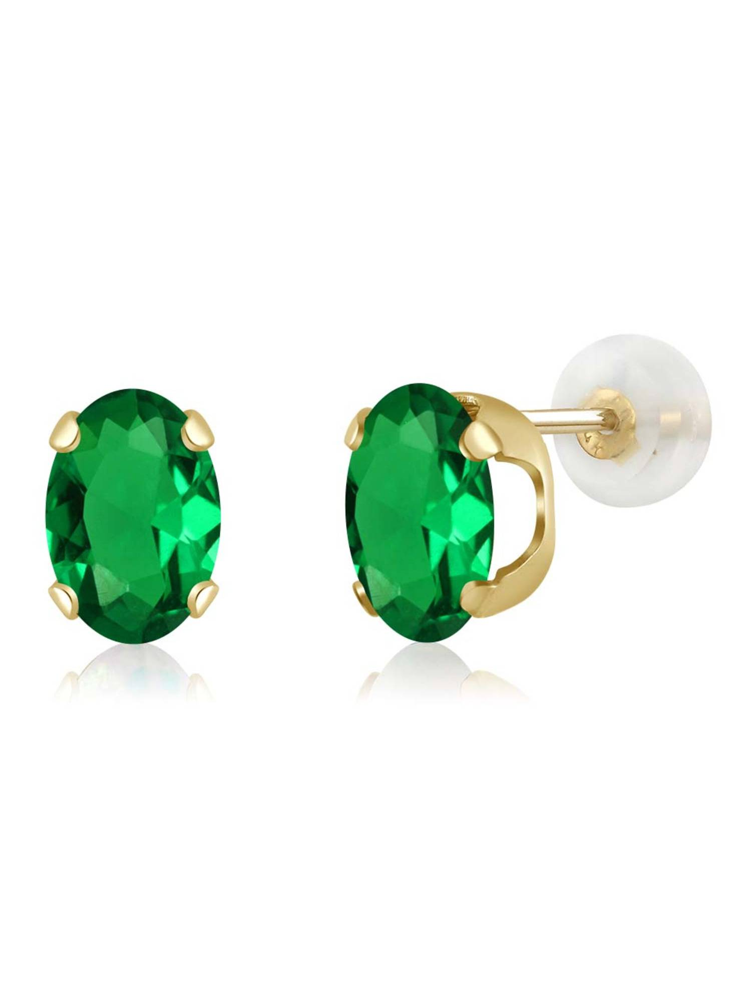1.20 Ct Oval 7x5mm Green Simulated Emerald 14K Yellow Gold Stud Earrings