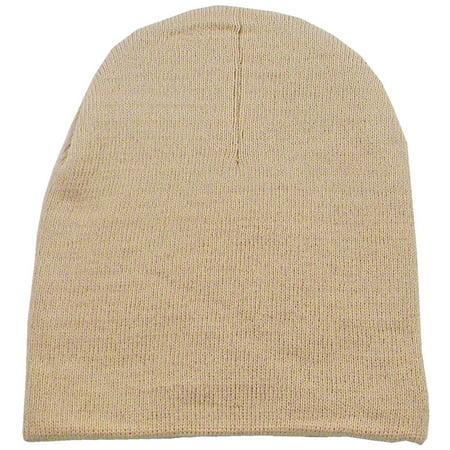 Men & Women's Winter Solid Colored Ski Knit Beanie Hat Khaki
