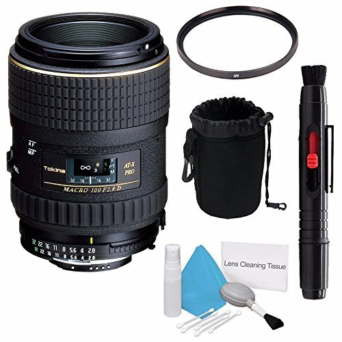 Tokina 100mm f/2.8 AT-X M100 AF Pro D Macro Autofocus Lens for Nikon AF-D (International Model) No Warranty+Deluxe Cleaning Kit + Lens Cleaning Pen + 55mm UV Filter + Deluxe Lens Pouch Bundle 7