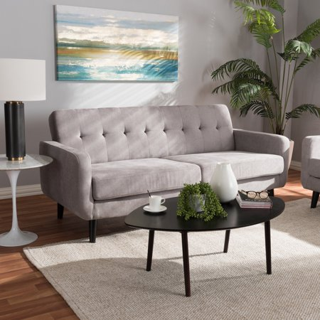 Baxton Studio Carina Mid-Century Modern Light Grey Fabric Upholstered Sofa ()