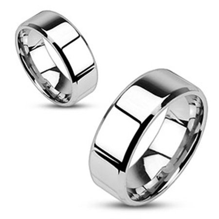 Mirror Polished Flat 6mm Band Beveled Edge 316L Stainless Steel Ring (SIZE: 5)