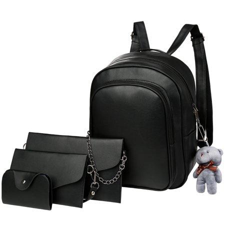 Vbiger 4-in-1 Backpack Set Trendy 4 Pieces PU Leather Backpacks Stylish  Shoulder Bags Casual Outdoor Daypack Fashionable Backpack Shoulder Bag  Handbag Card ... f7070b7ee9