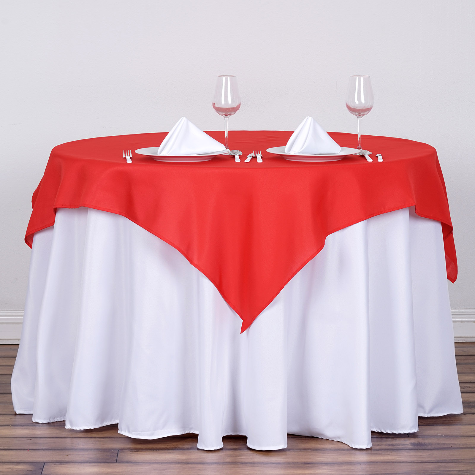 """BalsaCircle 54"""" x 54"""" Square Polyester Tablecloth Table Covers for Party Wedding Reception Catering Dining Home Table Linens"""