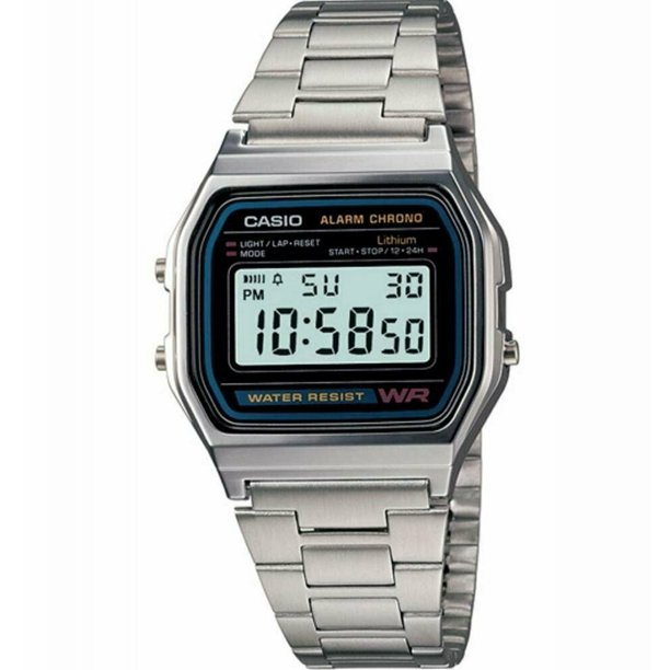 Casio Men's Classic Digital Stainless Steel Bracelet Watch, with Alarm and Stopwatch, and Auto Calender Features, with a Adjustable Clasp Lock, Water Resistant