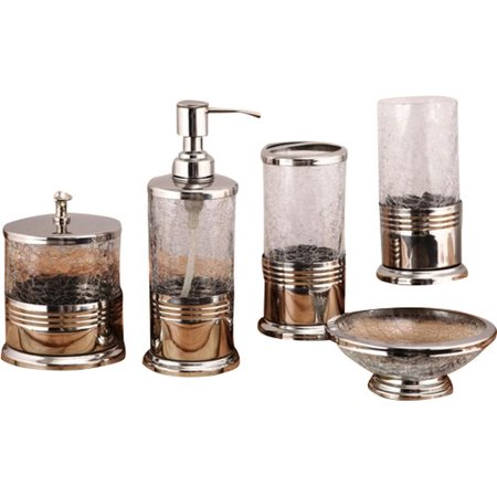 Fashion home trident 5 piece bathroom accessory set for Bathroom accessories glass