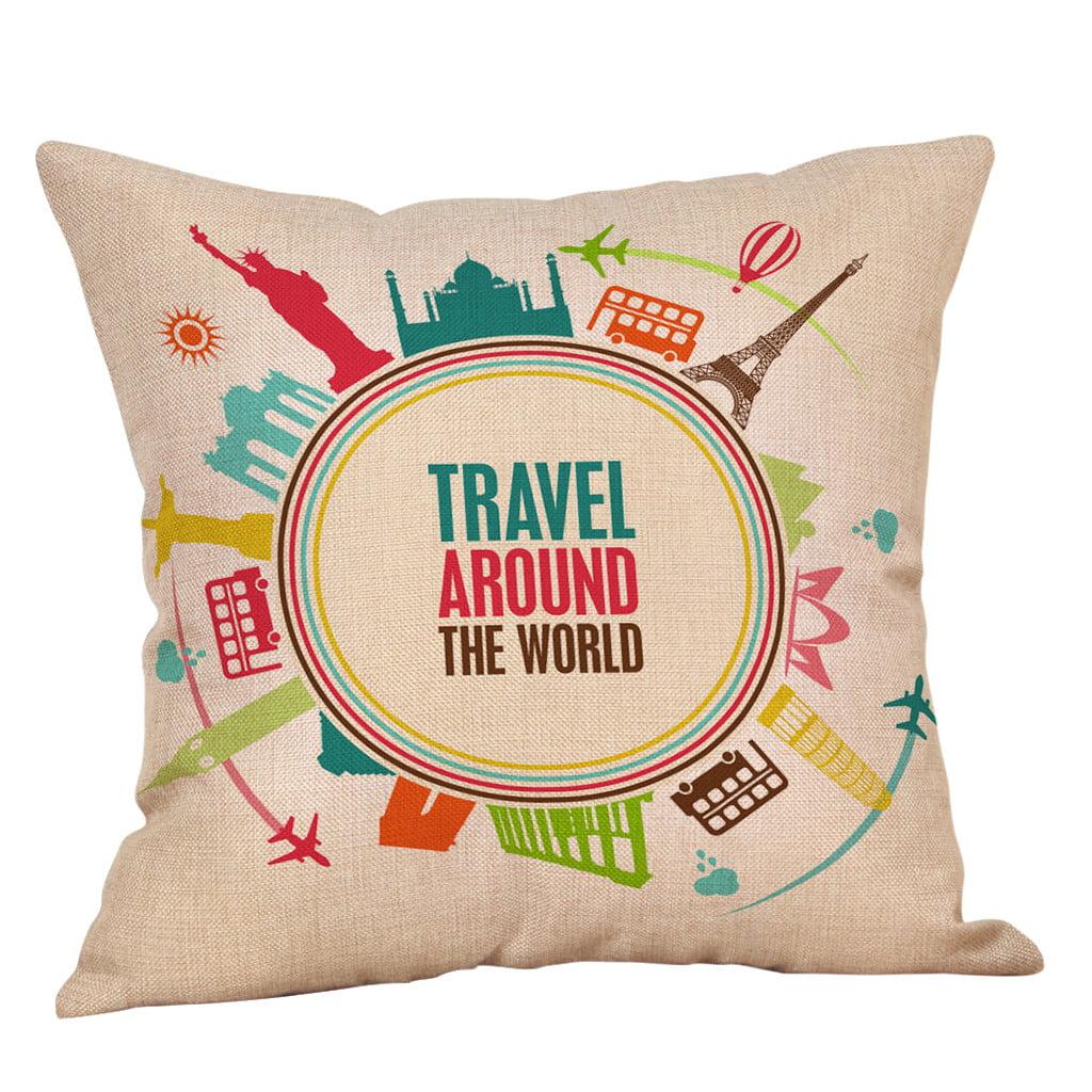 Love U More 18 Home Bed Cotton Linen Car Decor Waist Cushion Throw Pillow Case Indian South Asian Home Décor Pillows Home Décor Pillows