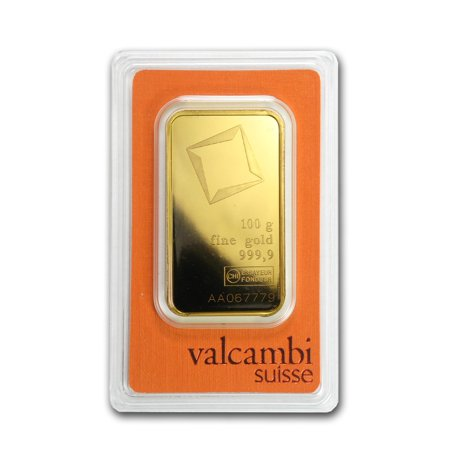 100 gram Gold Bar - Valcambi (Pressed w/Assay) ()