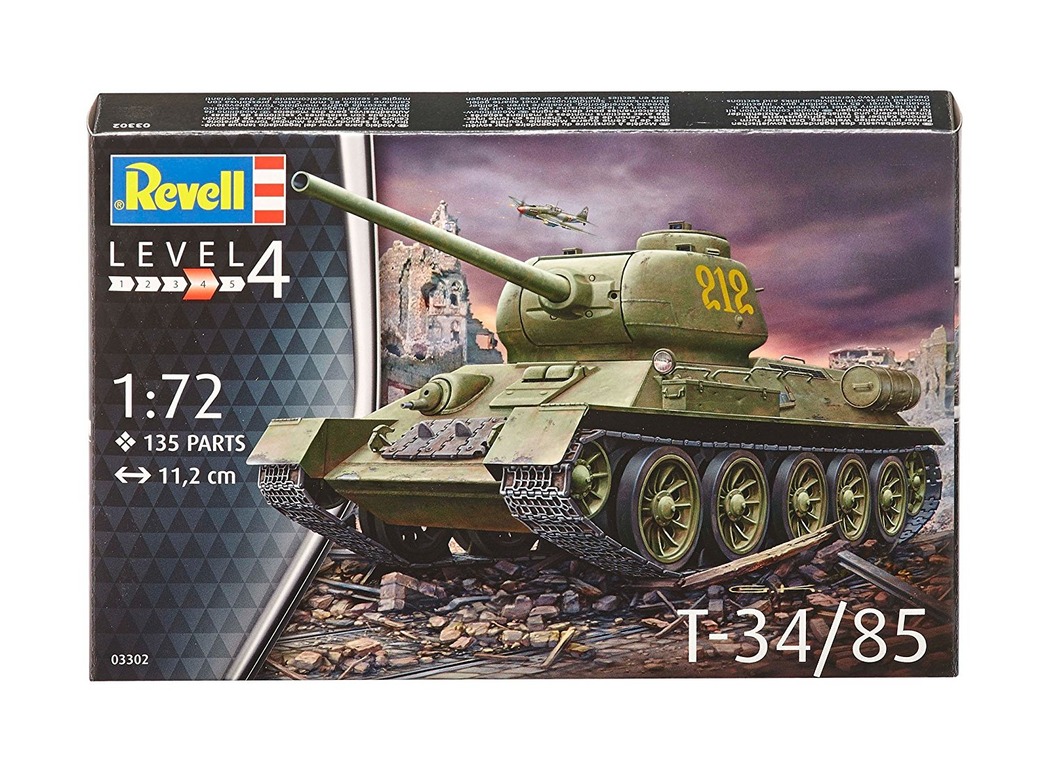 03302, T-34 85, 1:72 scale plastic model kit, Model is Scale 1:72 By Revell by