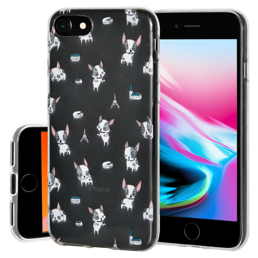 iPhone 8 Case, Premium Soft Gel Clear TPU Graphic Skin Case Cover for Apple iPhone 8 - Modern Puppy Print, Support Wireless Charging, Slim Fit, ShockProof